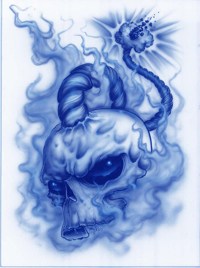 Skull Painting - The Fuse Is Lit In Blue by Mike Royal