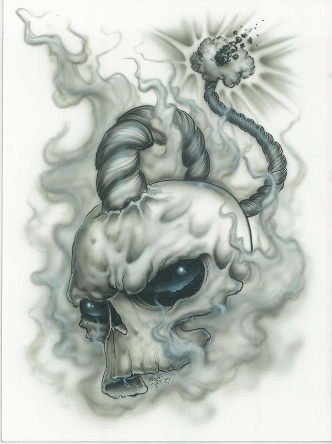 Skull Painting - The Fuse Is Lit In Gray by Mike Royal