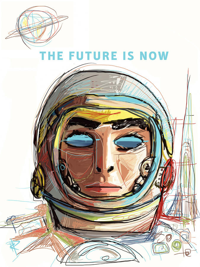 Astronaut Mixed Media - The Future is Now by Russell Pierce