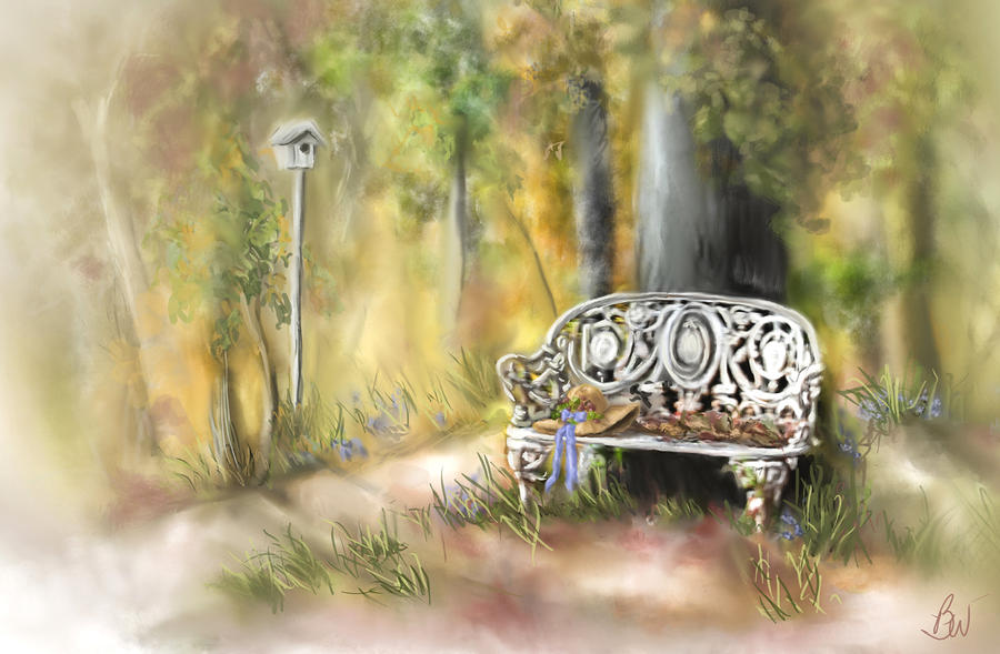 Bench Painting - The Garden Bench by Bonnie Willis