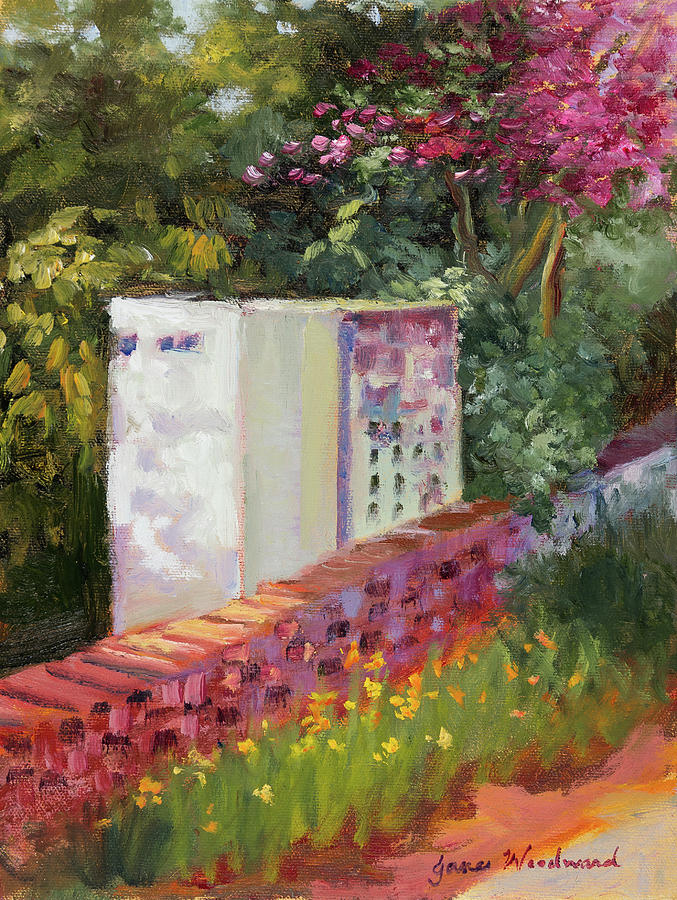 Garden Painting - The Garden Wall by Jane Woodward