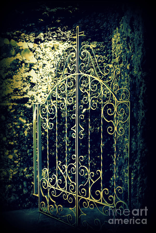 Gate Photograph - The Gate In The Grotto Of The Redemption Iowa by Susanne Van Hulst