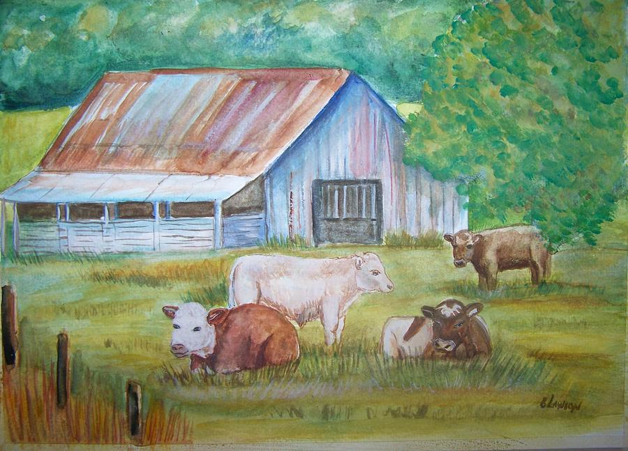 Cows Painting - The Gatherin by Belinda Lawson