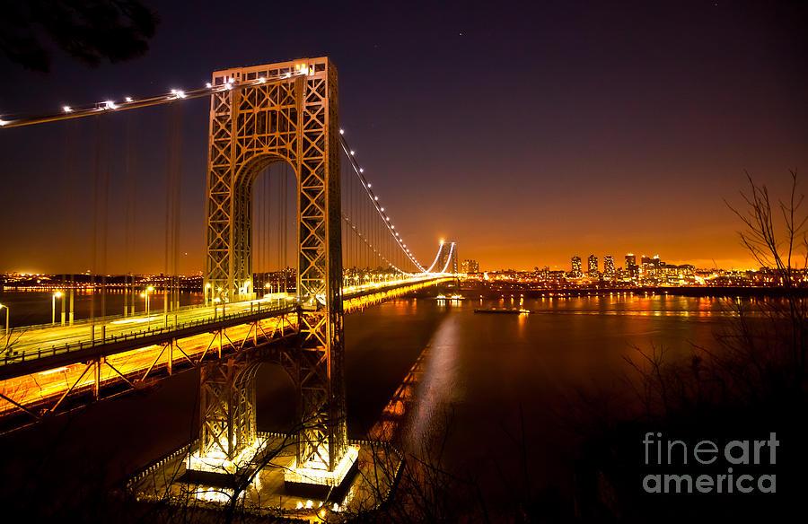 The George Washington Bridge At Night Photograph By Mark East