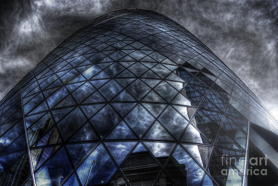 Hdr Photograph - The Gherkin - Neckbreaker View by Yhun Suarez
