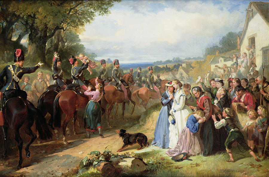 Army; Military; Soldiers; Hussar; Leaving; Farewell; Waving; Children; Raj; Wives; Dog; Landscape; Victorian; Weeping; Crying; Bravery; War; Sad; Family; Village; English; Soldier; Departing; Overseas; Journey; Girl; Crowd Painting - The Girls We Left Behind Us - The Departure Of The 11th Hussars For India by Thomas Jones Barker
