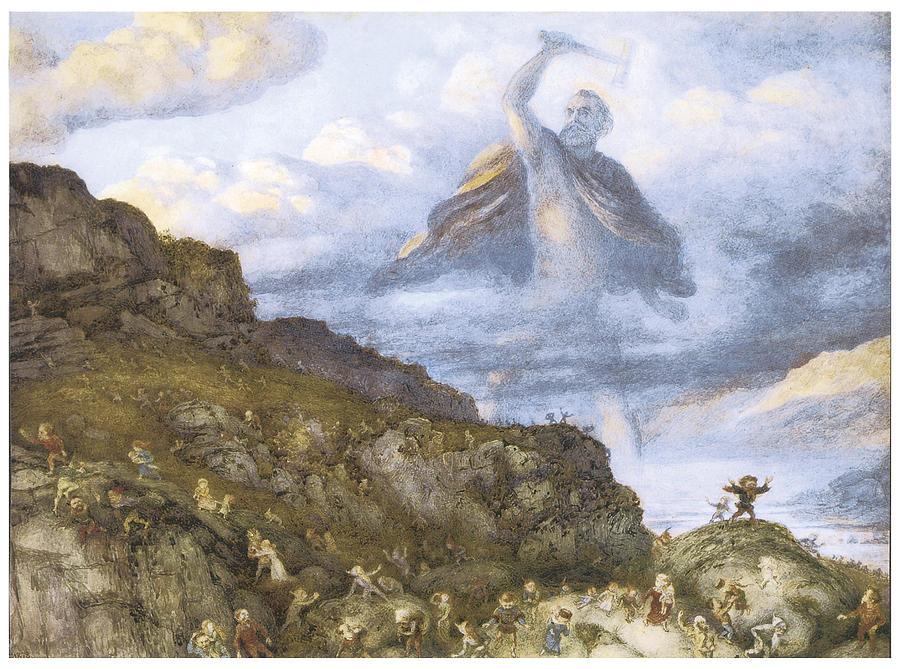 Richard Doyle Painting - The God Thor And The Dwarves by Richard Doyle