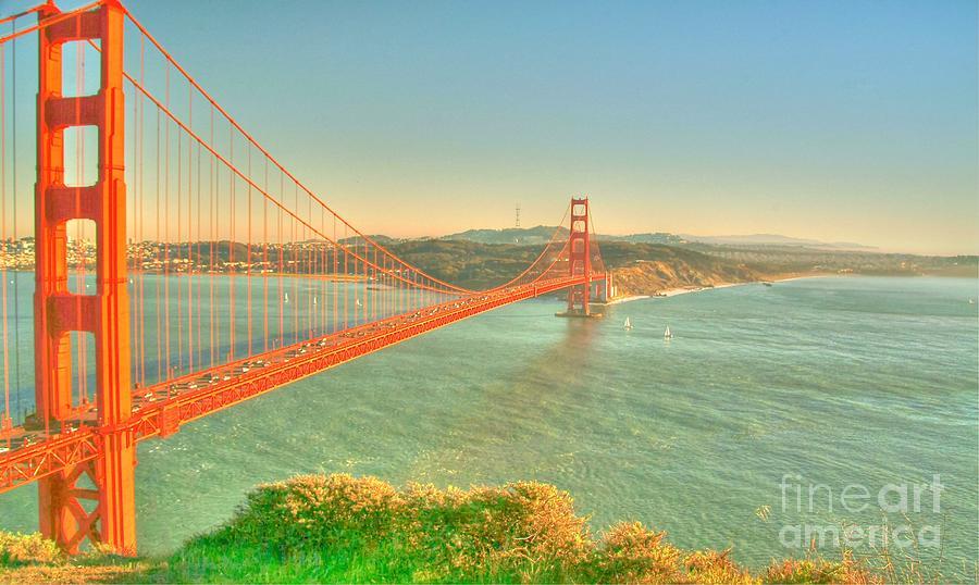 The Golden Gate Bridge Digital Art - The Golden Gate Bridge  Fall Season by Alberta Brown Buller