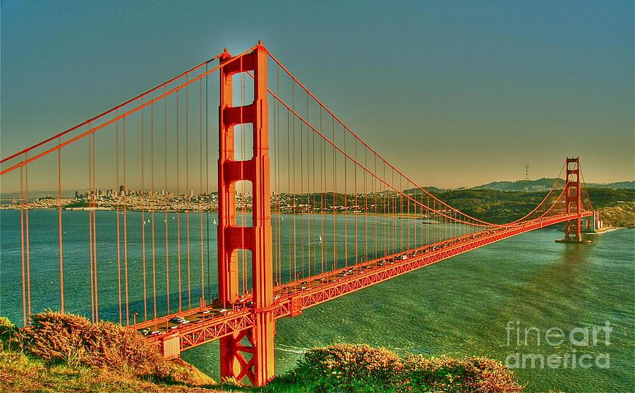 Golden Gate Bridge Digital Art - The Golden Gate Bridge Summer by Alberta Brown Buller