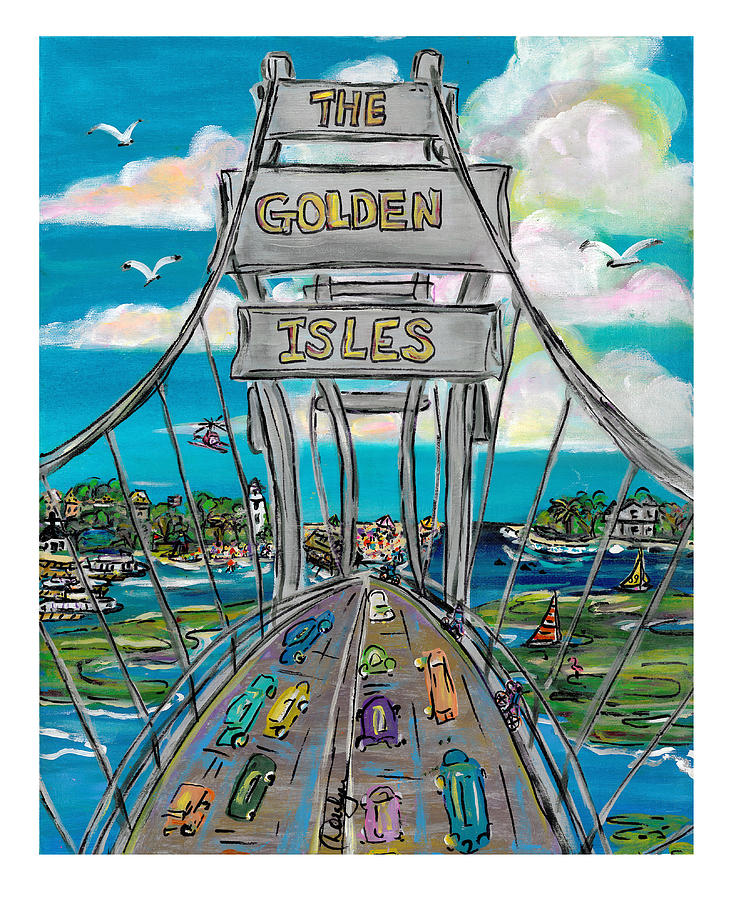 Bridge Painting - The Golden Isles by Doralynn Lowe