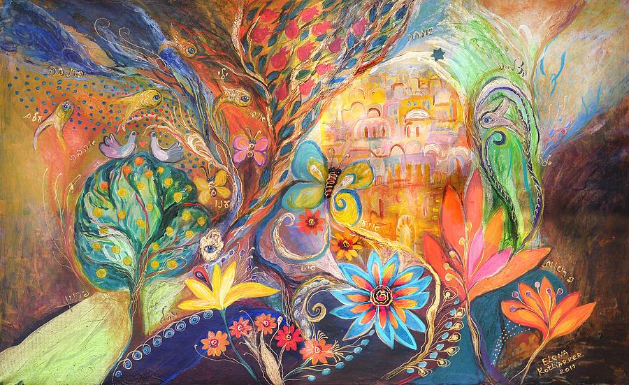 Original Painting - The Golden Jerusalem by Elena Kotliarker