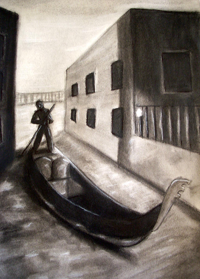 Boat Drawing - The Gondola by C Nick
