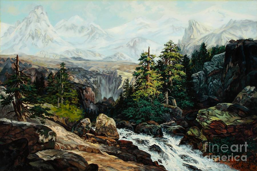Mountains Painting - The Grand Tetons By Thomas Moran Study By W Scott Fenton by W  Scott Fenton