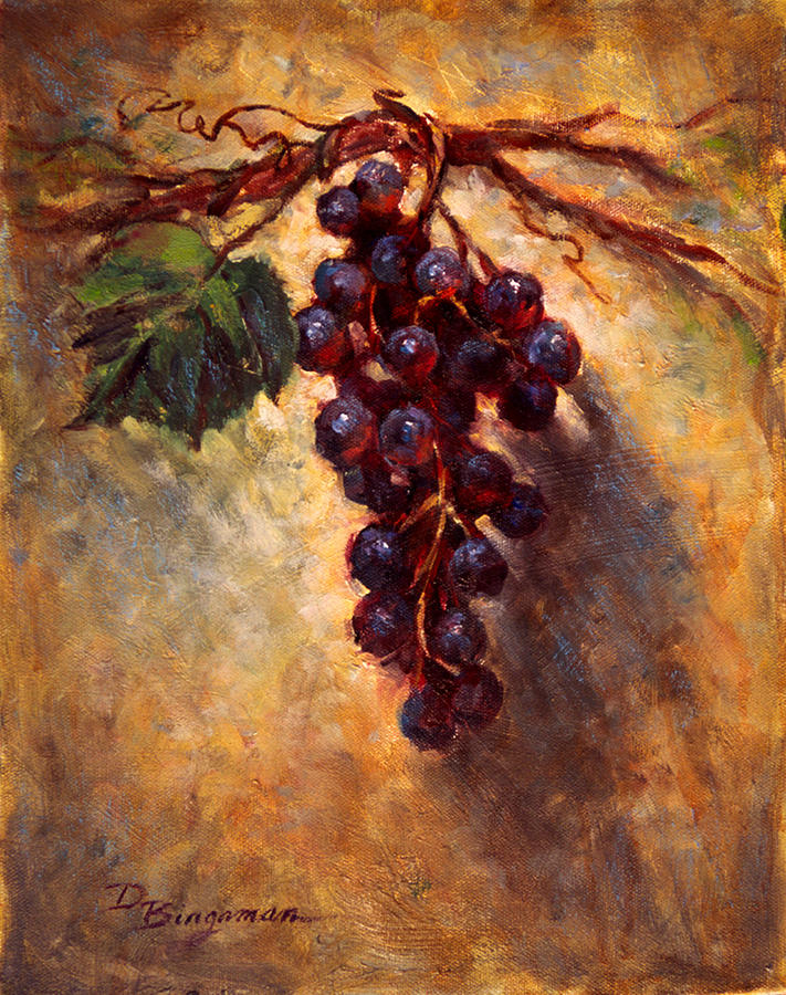 Grapes Painting - The Grape Vine by Donna Bingaman