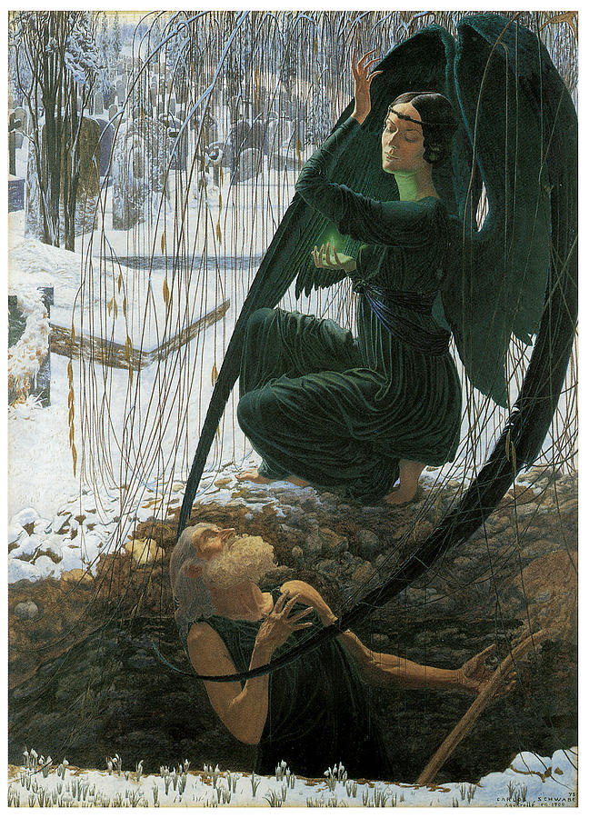 Carlos Schwabe Painting - The Grave Diggers Death by Carlos Schwabe