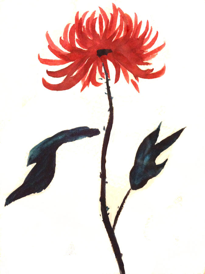 Sumi Painting - The Great Chrysanthemum by Alethea McKee