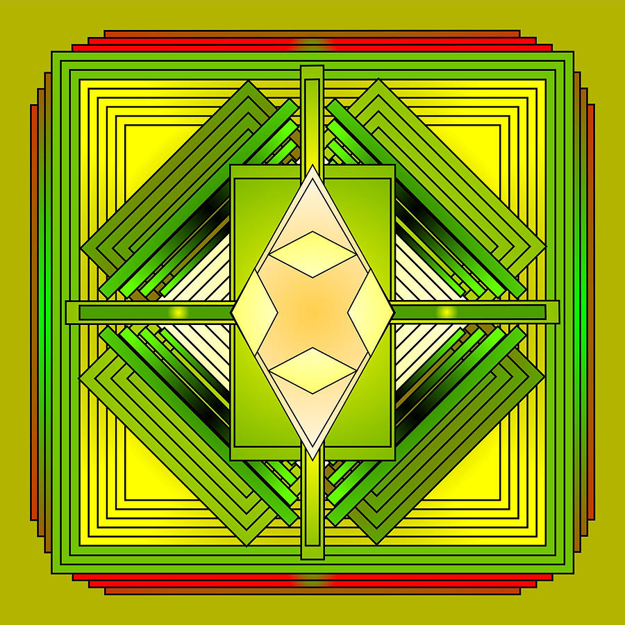 Mandalas Digital Art - The Greens Of Summer by Mario Carini