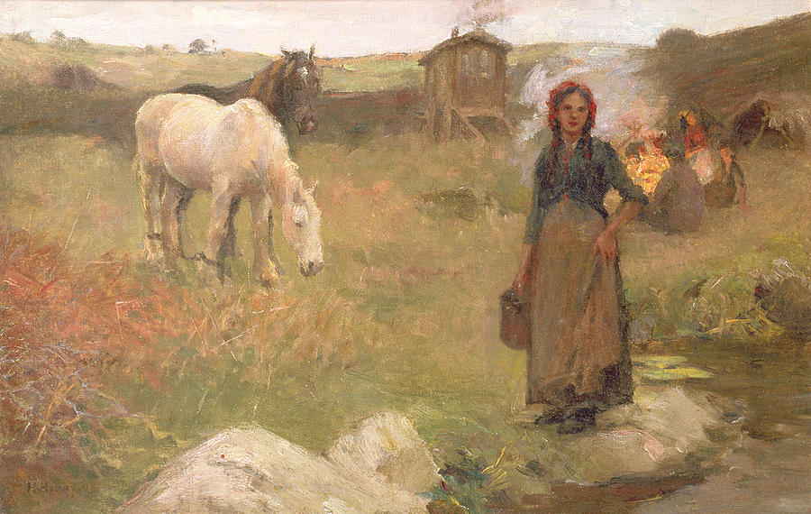 The Gypsy Camp Painting By Harold Harvey