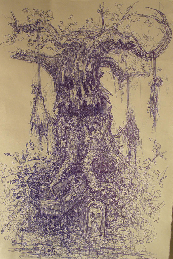 Gloom Drawing - the Hanging Tree by Ralph Nixon Jr