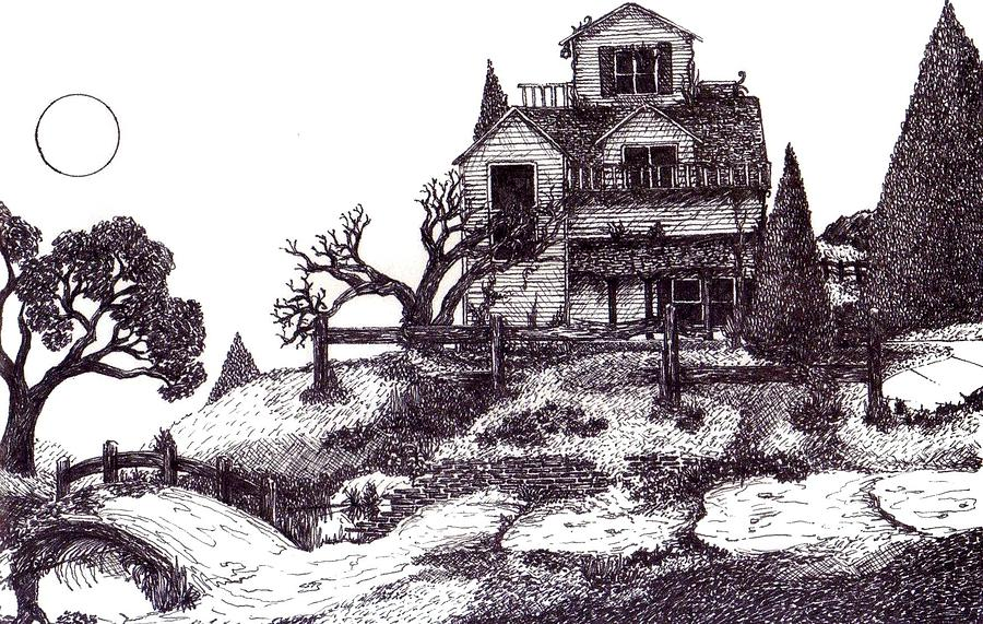 Surrealism Drawing - The Haunted House by Joella Reeder