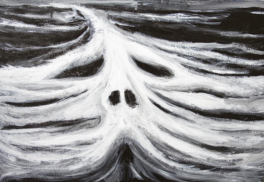 Black And White Painting - The Head Of Leviathan by Kazuya Akimoto