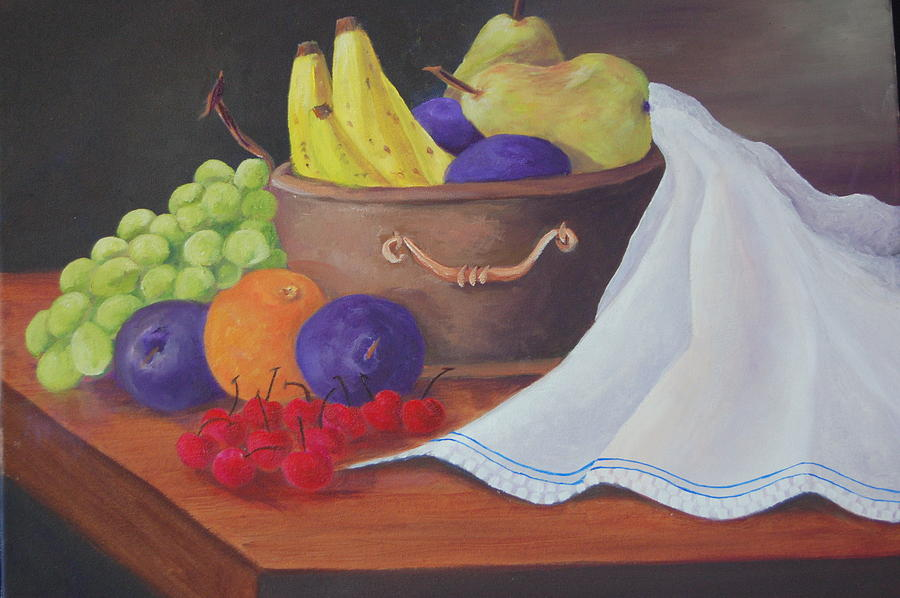 Grapes Painting - The Healthy Fruit Bowl by Janna Columbus