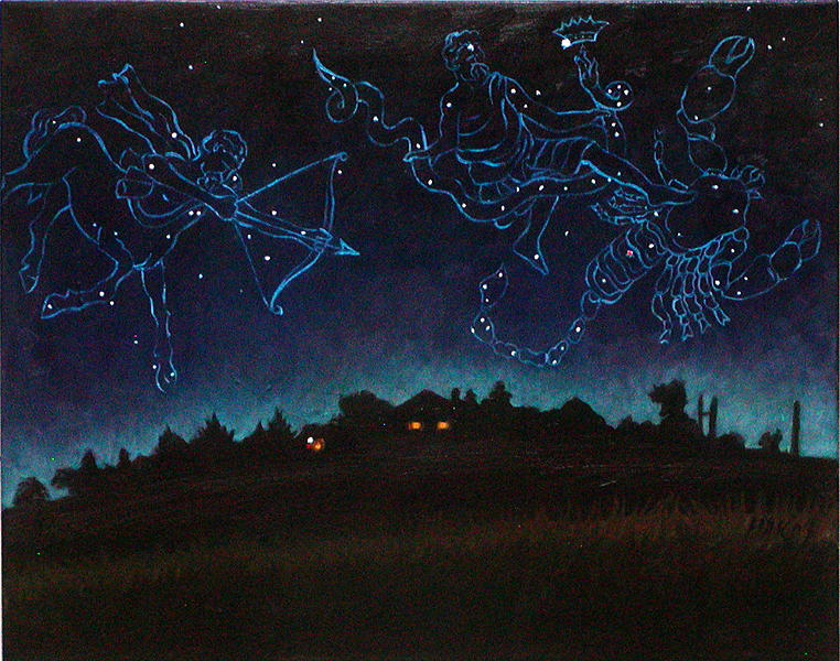 Zodiac Painting - The Heavenly Battle by Karen Fulk