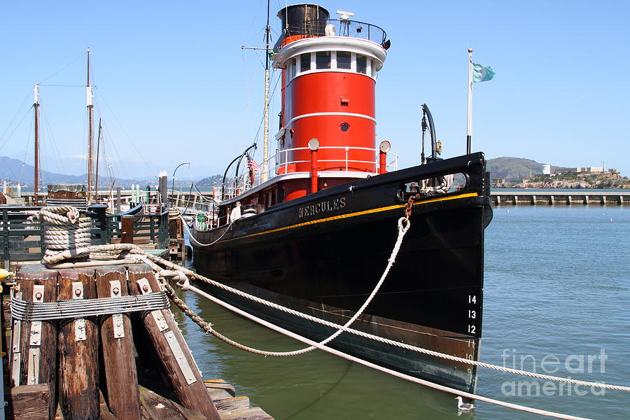 San Francisco Photograph - The Hercules . A 1907 Steam Tug Boat At The Hyde Street Pier In San Francisco California . 7d14137 by Wingsdomain Art and Photography