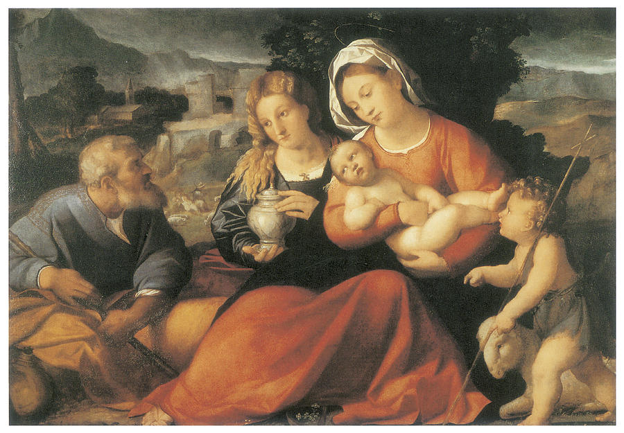 Palma Vecchio Painting - The Holy Family And Mary Magdalene by Palma The Elder