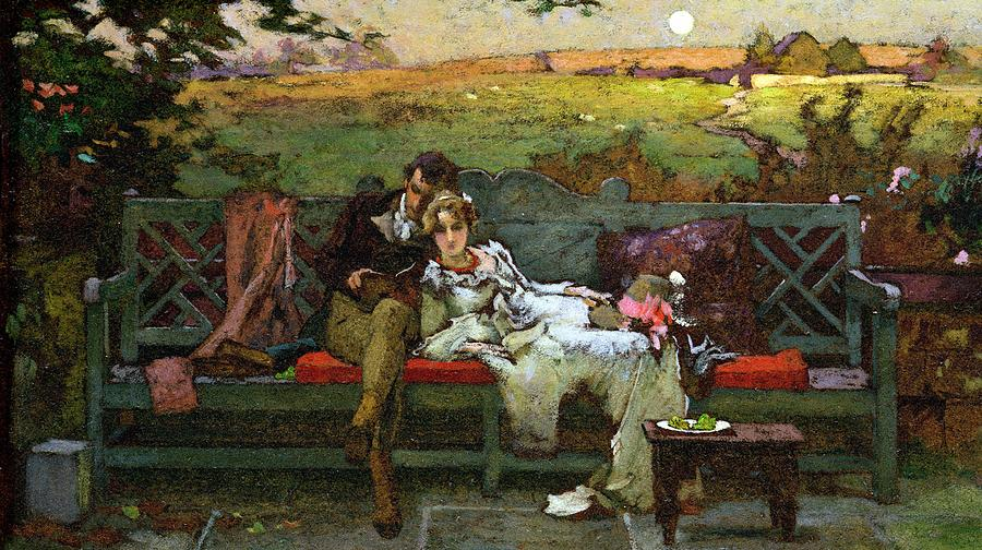 Couple; Married; Bench; Reclining; Reading; Relaxed; Love; Garden Seat; Romantic; Bench Painting - The Honeymoon by Marcus Stone