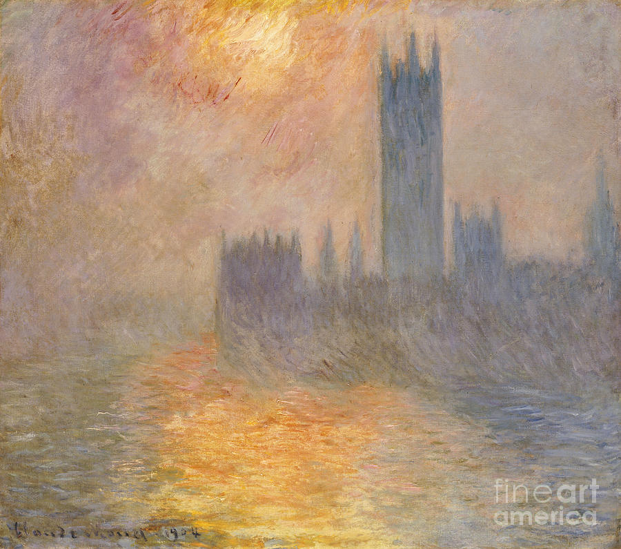 The Houses Of Parliament Painting - The Houses Of Parliament At Sunset by Claude Monet