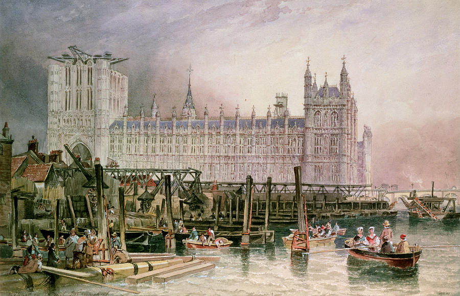 Construction Begun Painting - The Houses Of Parliament In Course Of Erection by John Wilson Carmichael