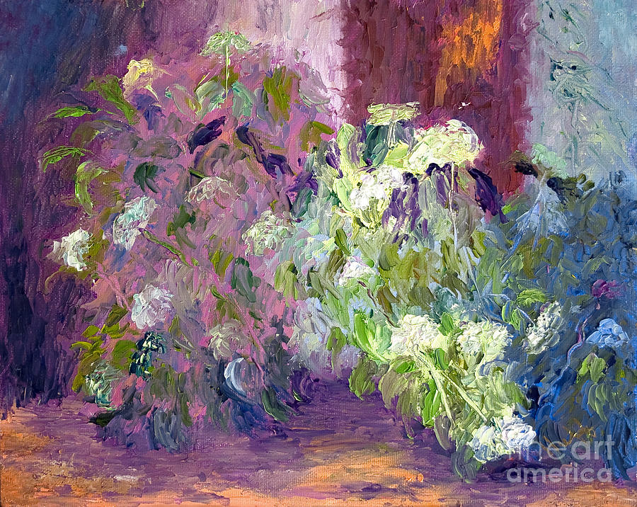 Garden Scene Painting - The Hydrangeas by Patricia Huff