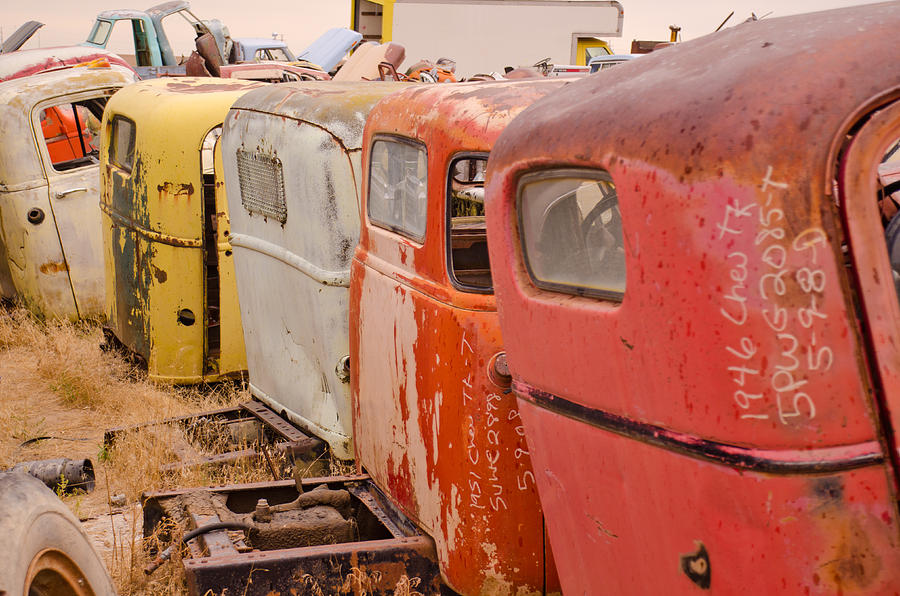 Car Photograph - The Iron Boneyard 9 by Matthew Angelo