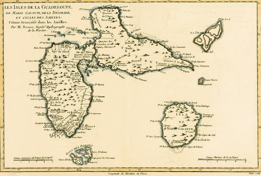 Maps Drawing - The Islands Of Guadeloupe by Guillaume Raynal