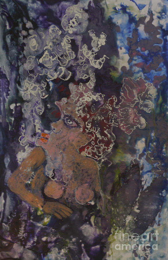 Encaustic Painting - The Joker Lady by Heather Hennick