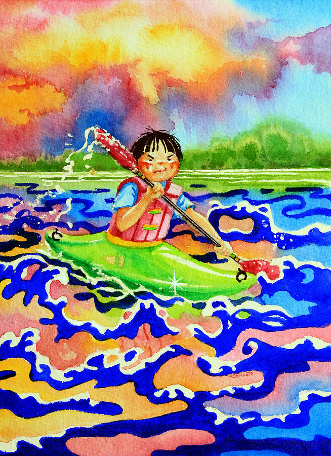 Storybook Illustration Painting - The Kayak Racer 12 by Hanne Lore Koehler
