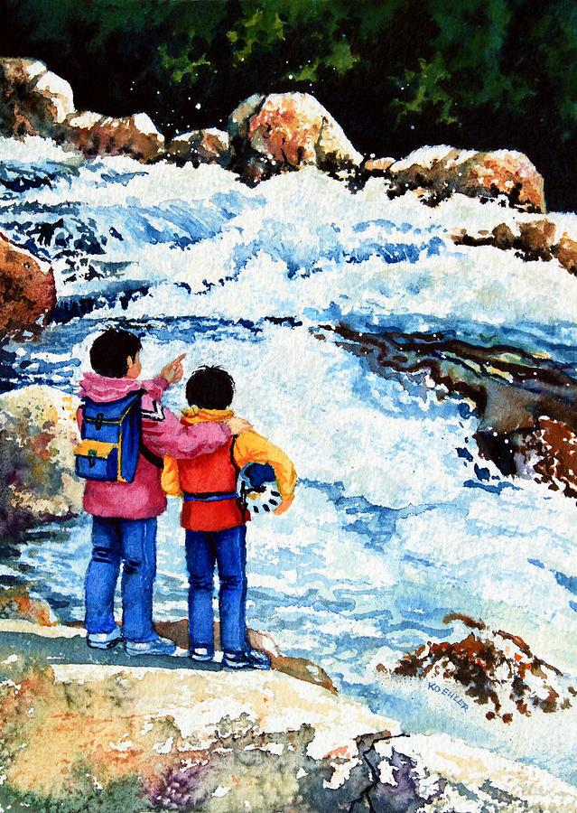 Storybook Illustration Painting - The Kayak Racer 14 by Hanne Lore Koehler
