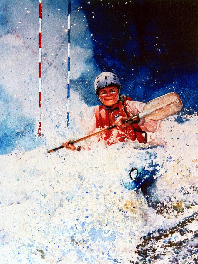 White Water Kayaking Painting - The Kayak Racer 20 by Hanne Lore Koehler