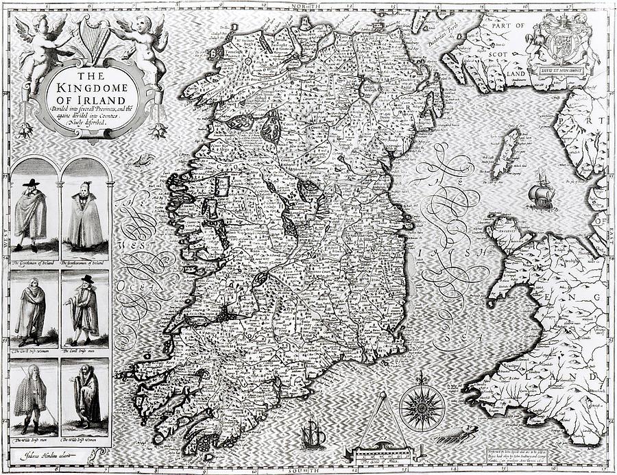 Maps Drawing - The Kingdom Of Ireland by Jodocus Hondius