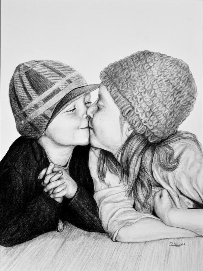 Portrait Painting - The Kiss by Jim Ziemer