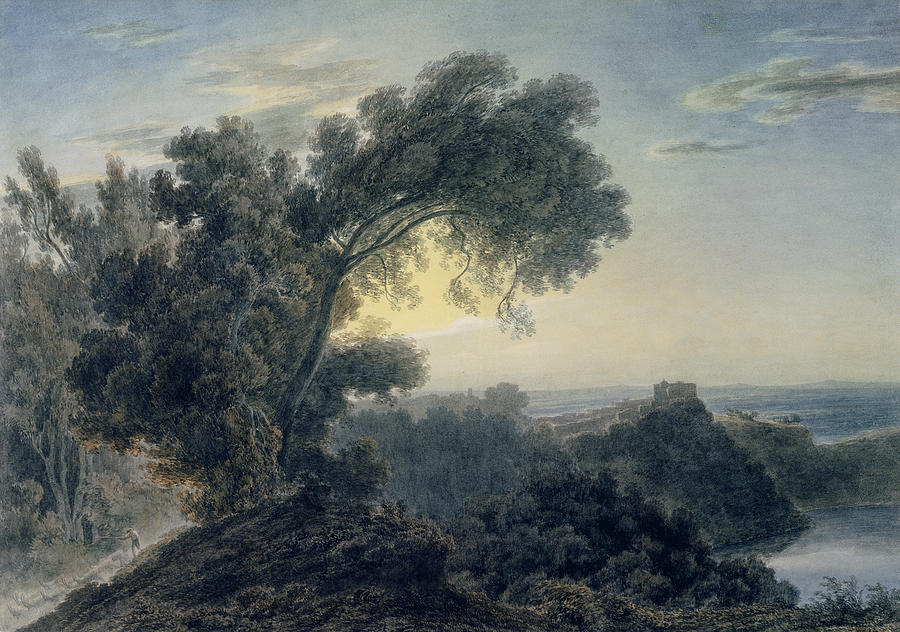 The Painting - The Lake Of Albano And Castle Gandolfo  by John Robert Cozens