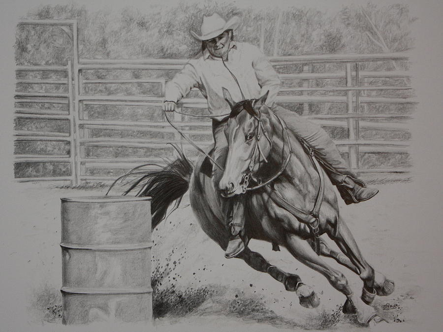 Horse Drawing - The Last Barrel by Tammy  Taylor