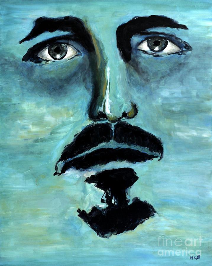 Men Portraits Painting - Blue Man In The Sky Surreal Portrait Unique Contemporary Figurative Fine Art Surrealism Decor Print by Marie Christine Belkadi