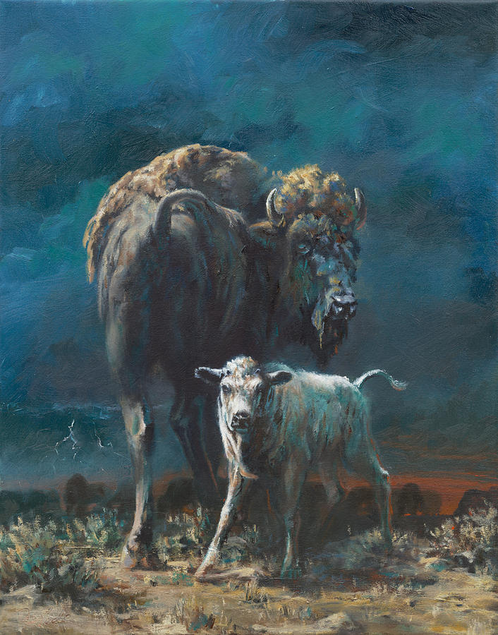 Buffalo Painting - The Legend Begins by Mia DeLode