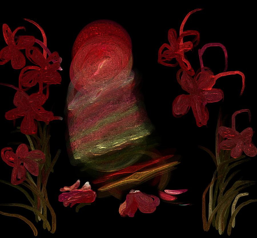 Abstract Digital Art - The light that paints the flowers by Christy Leigh