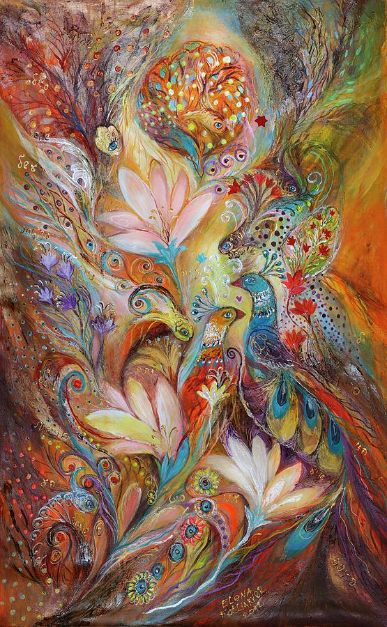 Judaica Painting - The Lilies And Bell Flowers by Elena Kotliarker
