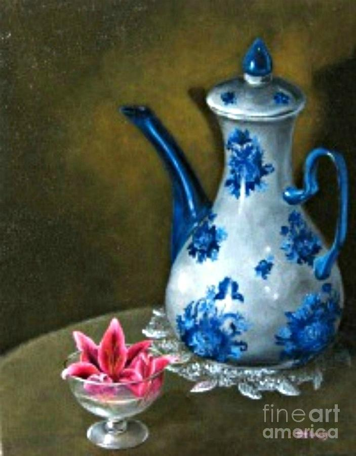 Lily Painting - The lily and the Coffe Pot by Patricia Lang