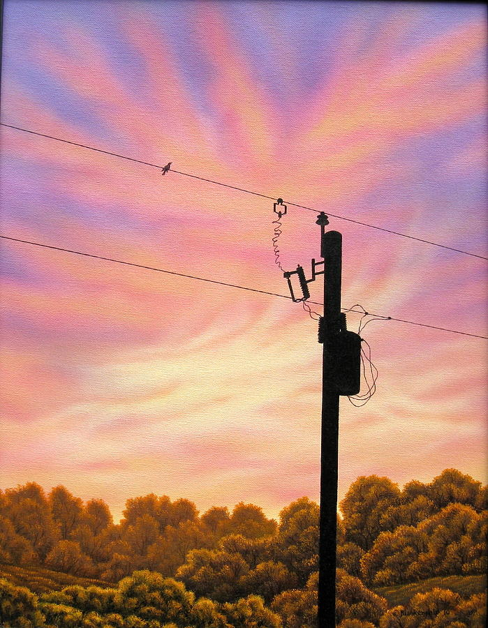 Sunsets Painting - The Lineman by Arley Blankenship