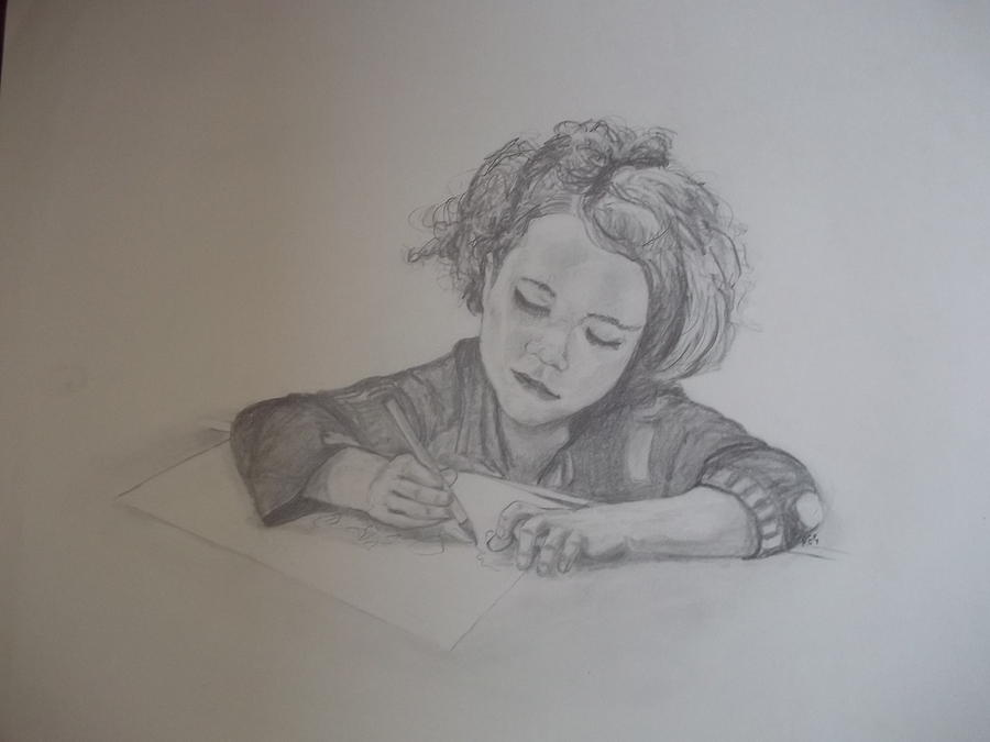 Portrait Drawing - The Little Artist by Peter Edward Green